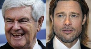 Newt Gingrich and Brad Pitt ... practically twins!
