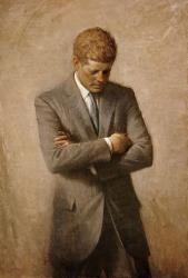 Aaron Shikler painted this posthumous official portrait of John F. Kennedy.