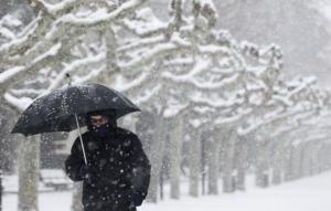 A man walks through a park in Burgos as snow hits northern Spain, on February 5, 2012. The Arctic cold snap that has hit Europe for over a week had claimed nearly 300 lives today, brought air travel chaos to London and dumped snow as far south as Rome and...