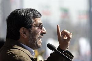 Iranian President Mahmoud Ahmadinejad speaks Saturday in Tehran.