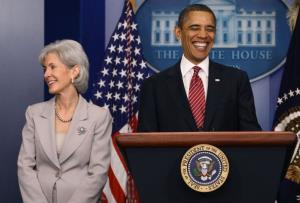 President Barack Obama makes a statement with Health and Human Services Secretary Kathleen Sebelius at the White House on February 10, 2012 in Washington, DC.