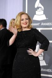 Adele arrives at the 54th annual Grammy Awards on Sunday, Feb. 12, 2012 in Los Angeles.