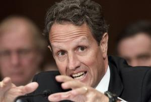 Treasury Secretary Timothy Geithner testifies on Capitol Hill yesterday.