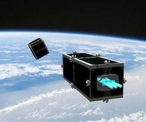 This illustration shows the CleanSpace One chasing its target, one of the CubeSats launched by Switzerland in 2009.