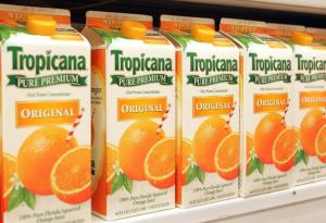 Cartons of Tropicana orange juice lie in a grocery store display December 1, 2004 in Niles, Illinois.