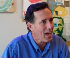 Rick Santorum holds forth on the dangers of birth control in this YouTube screenshot.