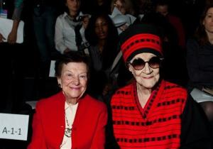 Zelda Kaplan, 95, right, sits with Fashion Calendar publisher Ruth Finley, as they wait for the Joanna Mastroianni Fall 2012 fashion show to begin, during Fashion Week, Feb. 15, 2012,  in New York.