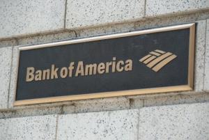 A Bank of America logo is seen outside a bank branch.