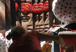 A woman works on a carnival float at the Mocidade Independente de Padre Miguel samba school in Rio de Janeiro.