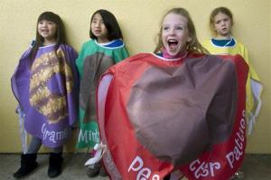 Girl Scouts dress up like cookies before their big sales begin.