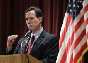 Republican presidential candidate, former Pennsylvania Sen. Rick Santorum speaks during a campaign rally at the El-Zaribah Shrine Auditorium, Tuesday, Feb. 21, 2012, in Phoenix, Arizona.