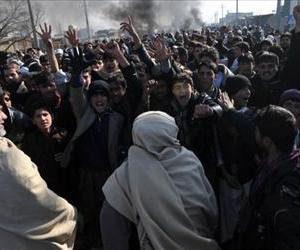 Afghan demonstrators shouts anti-US slogans during a protest against Koran desecration in Kabul on February 22, 2012.