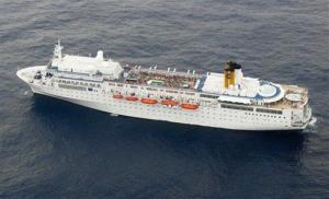 The Costa Allegra cruise ship is seen from an airplane near the Seychelles.