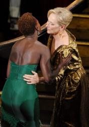 Viola Davis congratulates Meryl Streep during the 84th Annual Academy Awards held at the Hollywood & Highland Center on February 26, 2012 in Hollywood, California.