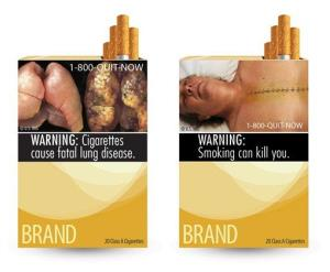 This combination photo made from file images provided by the FDA shows two of nine cigarette warning labels from the government.