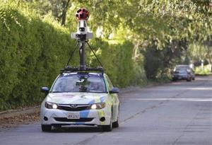 A Google vehicle drives around collecting street views in the file photo.