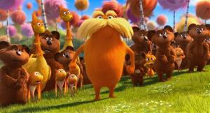 In this film image released by Universal Pictures, animated character Lorax, voiced by Danny Devito, center, stands with  stands with the Bar-ba-loots, Swomee-Swans and Humming-Fish in a scene from Dr. Seuss' The Lorax.