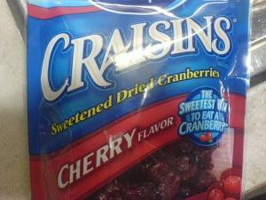 Cherry-flavored Craisins.