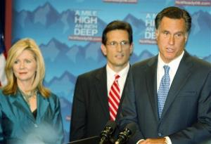 Mitt Romney and Eric Cantor at a news conference in Denver on Tuesday, Aug. 26, 2008. At left is Rep. Marsha Blackburn, R-Tenn.