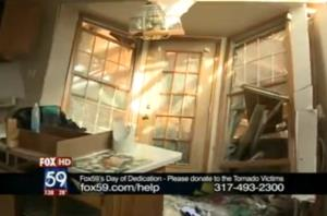 A screen grab of the wreckage from Fox 59 video.