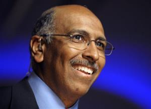 In this Nov. 2, 2010 file photo, Republican National Committee Chairman Michael Steele speaks during an election night gathering in Washington.