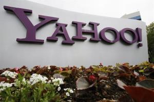 The Yahoo logo is displayed outside of the offices in Santa Clara, Calif., Monday, April 18, 2011.