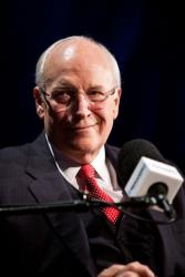 Former Vice President Dick Cheney is interviewed by SiriusXM Patriot host David Webb at SiriusXM studios on October 25, 2011 in Washington, DC.