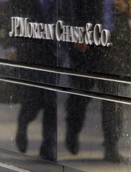 This 2011 file photo shows the JP Morgan Chase and Co. sign at its Manhattan headquarters.