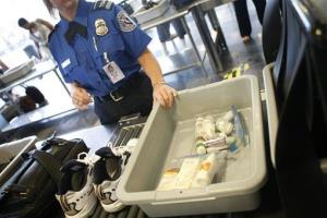 In this 2008 file photo, shoes and small liquid containers are placed in bins to be screened by a TSA agent at Washington's Ronald Reagan National Airport.