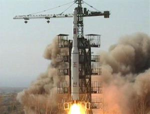 In this April 5, 2009, image made from KRT video, a rocket is lifted off from its launch pad in Musudan-ri, North Korea.