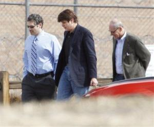 Former Illinois Gov. Rod Blagojevich, center, walks with attorneys as he arrives at the Federal Correctional Institution Englewood in Littleton, Colo.,  on Thursday, March 15, 2012.