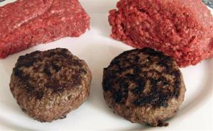 A hamburger made from ground beef containing what is derisively referred to as pink slime, right, and one made from pure 85% lean ground beef.