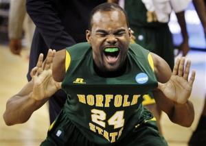 Norfolk State's Brandon Wheeless celebrates after defeating Missouri 86-84.