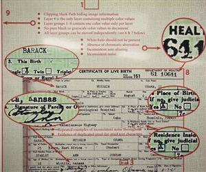 Examples of what Sheriff Joe Arpaio's volunteer cold case posse claim are inconsistencies in Barack Obama's long-form birth certificate are shown during a news conference, March 1, 2012 in Phoenix.