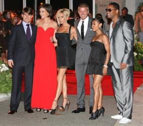 Tom Cruise, Katie Holmes, Victoria and David Beckham, Jada Pinkett Smith and Will Smith at the Museum of Contemporary Art, July 22, 2007, in Los Angeles.