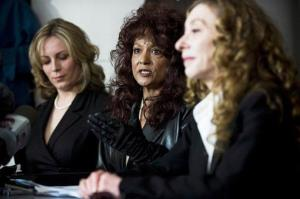 Terri-Jean Bedford, center, with Nikki Thomas, left, and Valerie Scott after Ontario struck down a ban on brothels. Bedford, a dominatrix, said sex trade laws force workers from the safety of home.