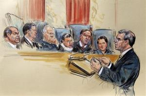 This artist rendering shows Solicitor General Donald B. Verrilli speaking in front of the Supreme Court.