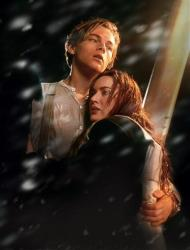 In this film image released by Paramount Pictures, Leonardo DiCaprio, left, and Kate Winslet are shown in a scene from the 3-D version of James Cameron's romantic epic Titanic.