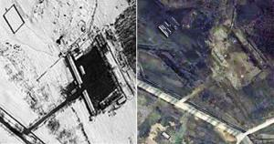 This combination of the March 7, left, and March 28, right, 2012 satellite images provided by DigitalGlobe, shows the storage area at North Korea's Tongchang-ri Launch site, on the nation's west coast.