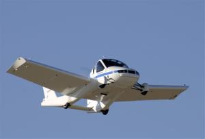 This March 23, 2012 photo provided by Terrafugia Inc. shows the company's prototype flying car, dubbed the Transition, during its first flight.