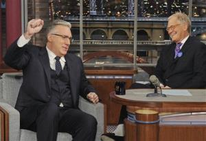 In this photo provided by CBS, talk show host Keith Olbermann, left, chats with host David Letterma on Tuesday.