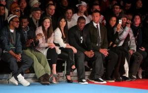 Lupe Fiasco, Kanye West, Milla Jovovich, Kim Kardashian, Reggie Bush, Ian Thorpe, Veronica Webb and Rufus Wainwright attend Mercedes-Benz Fashion Week on February 15, 2009 in New York City.