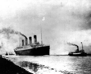 In this April 10, 1912, file photo, the Titanic departs Southampton, England.