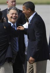 Senator Al Franken and President Obama.