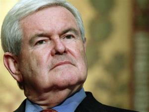 In this March 28, 2012, file photo Newt Gingrich, waits to speak at Georgetown University in Washington.