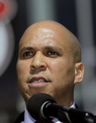 Newark Mayor Cory Booker talks during a news conference outside of the Prudential Center earlier this month.