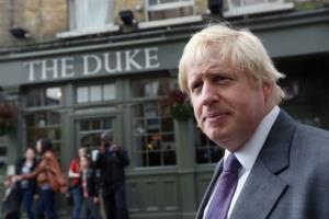 Mayor of London Boris Johnson meets voters in Richmond after launching his re-election bid this month. He has yanked anti-gay ads from London buses.