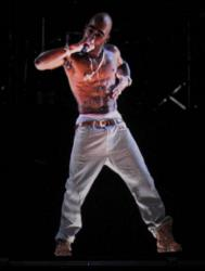 A sort-of holographic image of Tupac Shakur takes the stage at Coachella Valley Music & Arts Festival in Indio, California.