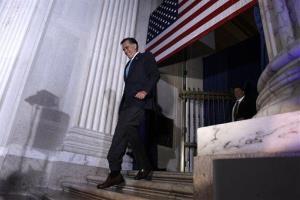 Mitt Romney arrives to speak at a Tax Day Tea Summit in Philadelphia yesterday.