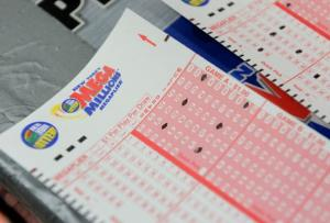 Mega Millions lottery ticket forms.